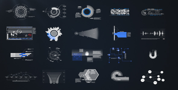 平面图表信息化元素包VideoHive HUD & Infographic Elements